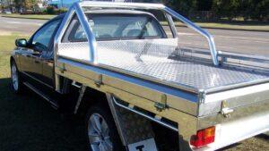 Custom aluminium ute trays Perth with roll bars.