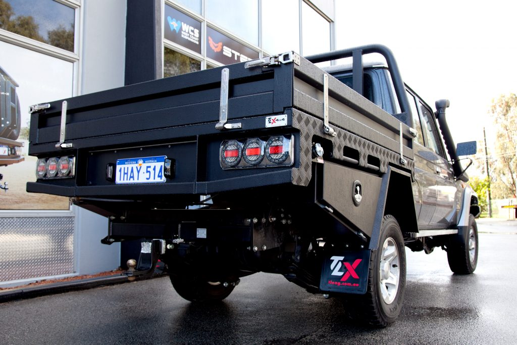Lifted ute trays for Toyota dual cab Landcruiser 79 series, designed, made and fitted in Perth Western Australia
