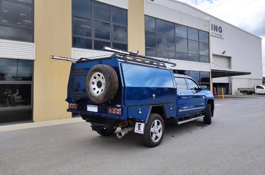 Blue Chevrolet Silverado Canopy Build by TL Engineering Perth WA_