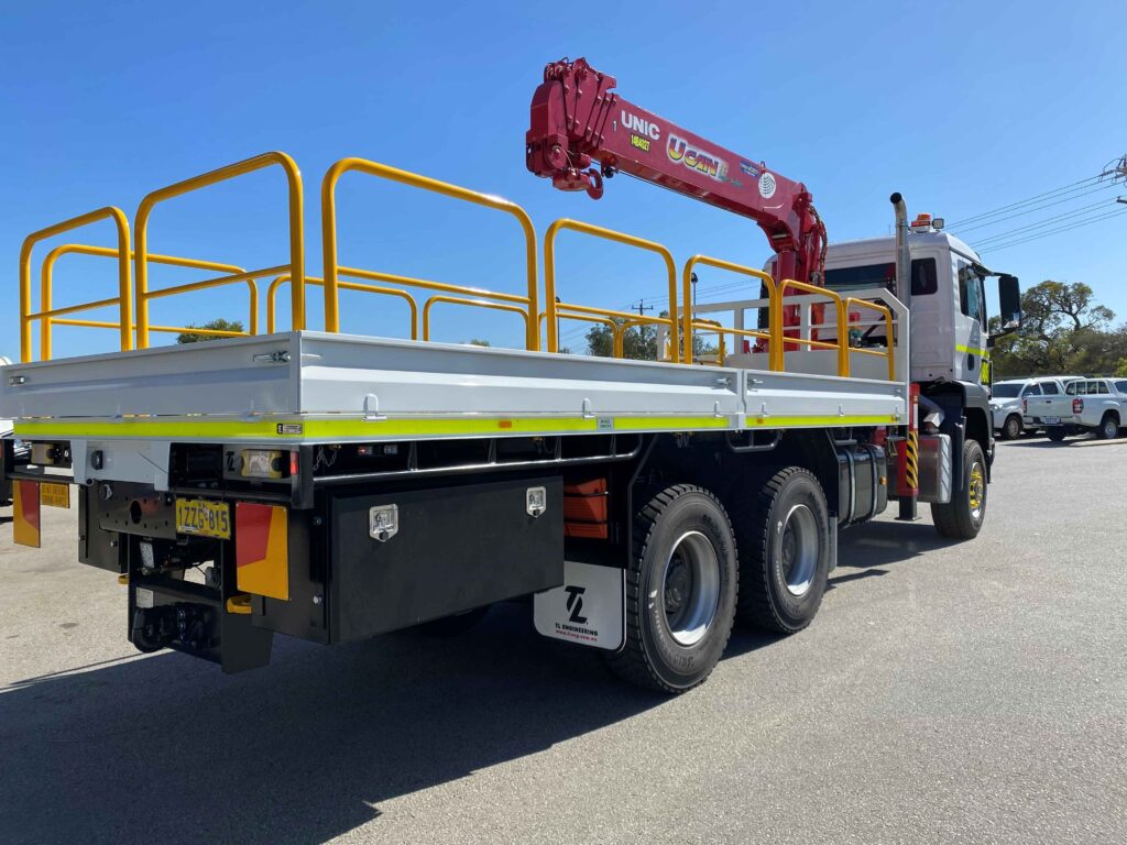 Heavy-duty truck mounted HIAB crane made in Perth for the mining industry of Western Australia
