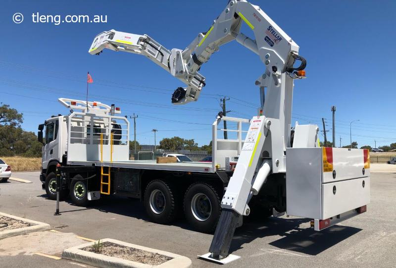 Big mining truck tyre handling truck Perth Western Australia.